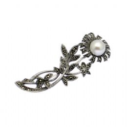 Sterling Silver, Pearl & Marcasite Flower Design Brooch